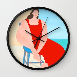 Summer Red Dress Wall Clock