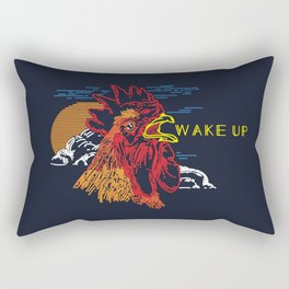 Wake Up Monoline Rooster Graphic Rectangular Pillow