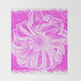 White Flower On Hot Pink Crayon Throw Blanket