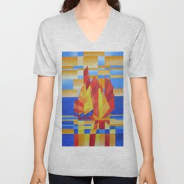 Sailing on the Seven Seas so Blue Cubist Abstract Unisex V-Neck