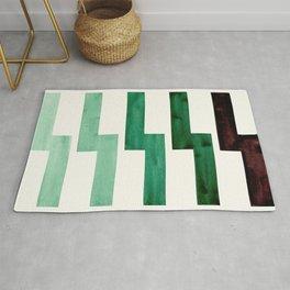 Teal Aquamarine Green Watercolor Gouache Geometric Pattern Zig Zag Lightning Bolt Shaped Mid Century Rug