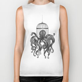 Octopus in a birdcage Biker Tank