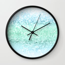Aqua Seafoam Ocean Glitter #1 #shiny #pastel #decor #art #society6 Wall Clock