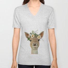 Baby Deer Print Unisex V-Neck