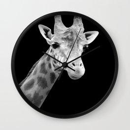 B&W Giraffe Portrait Wall Clock