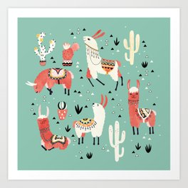 Llamas and cactus in a pot on green Art Print