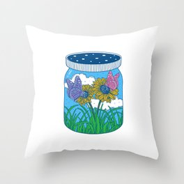 Little jar of happiness Throw Pillow