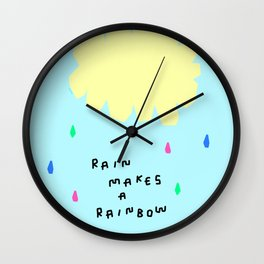 Rain Makes A Rainbow - pastel colorful illustration nursery kids room art Wall Clock