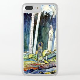 Emily Carr - Totems, Tanoo - Canada, Canadian Oil Painting - Group of Seven Clear iPhone Case