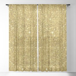 Gold faux glitter background Sheer Curtain
