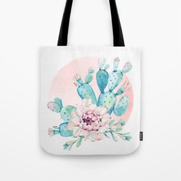 Desert Cactus Flower with Rose Gold Sun Tote Bag