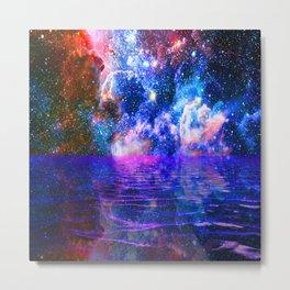 NEBULA COSMIC HORIZON OCEAN BLUE Metal Print