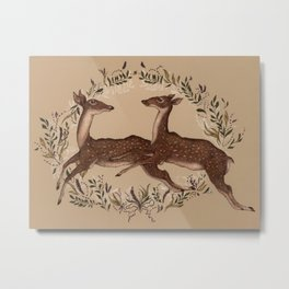 Jumping Deer Metal Print