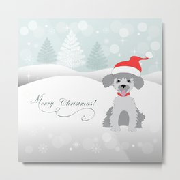 merry christmas with cute puppy Metal Print