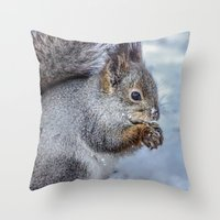 squirrel Throw Pillows featuring Squirrel by Svetlana Korneliuk