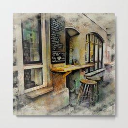 Cafe Stools Metal Print