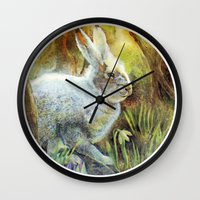 hare Wall Clocks featuring Hare by Natalie Berman