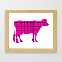 Cow: Pink Plaid Framed Art Print