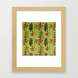 Happy foxes in the forest - Cute Fox Pattern Framed Art Print