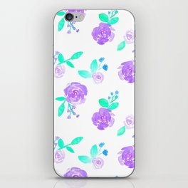 Purple Watercolor Rose Garden Print iPhone Skin