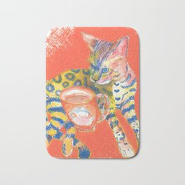 Bengal Cat and Coffee, drawing, wake up Bath Mat