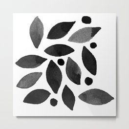 Leaves & berries watercolour monochrome black Metal Print