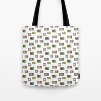 tv Tote Bags featuring television by Kelly Tucker