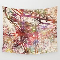 portland Wall Tapestries featuring Portland by MapMapMaps.Watercolors
