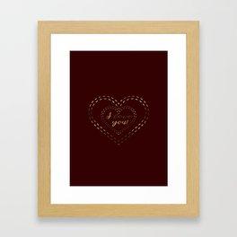 Royal Gold Burgundy I love You Typography Framed Art Print