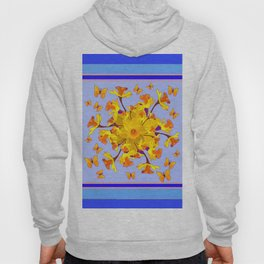 Blue Butterfly & yellow Daffodils Pattern Hoody