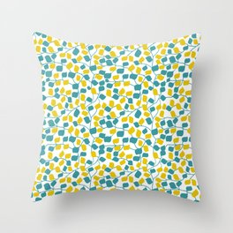 Branches and Leaves in Teal and Yellow Throw Pillow