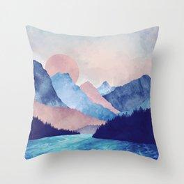 Light Blue Mountains Throw Pillow