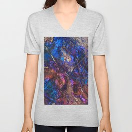Blue Rainbow Oil Slick Crystals Unisex V-Neck