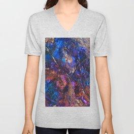 Blue Rainbow Oil Slick Crystals Unisex V-Neck