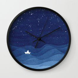 blue ocean waves, sailboat ocean stars Wall Clock