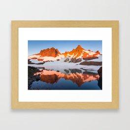 Broken Top Mountain Sunrise at Alpine Lake Framed Art Print