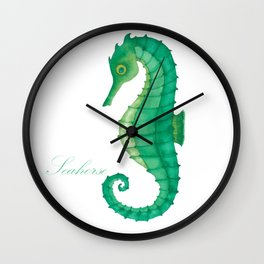 Seahorse in Green Wall Clock