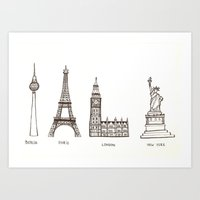 cities Art Prints featuring Cities by johanna strahl