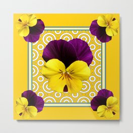 Golden Modern Art Deco Purple Pansy Pattern Art Metal Print