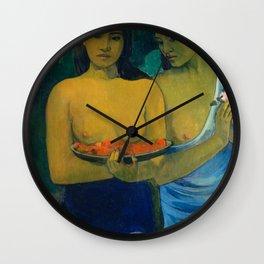 Two Tahitian Women by Paul Gauguin, 1889 Wall Clock