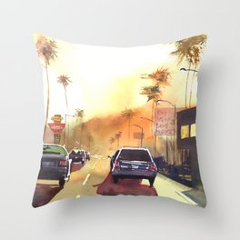 sunny town Throw Pillow
