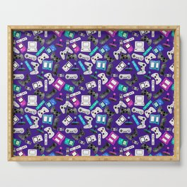 Watercolor Gaming Video Game Devices Pattern Purple Serving Tray