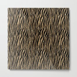 Black & Gold Glitter Animal Print Metal Print