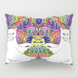 Psychedelic White Cat Pillow Sham