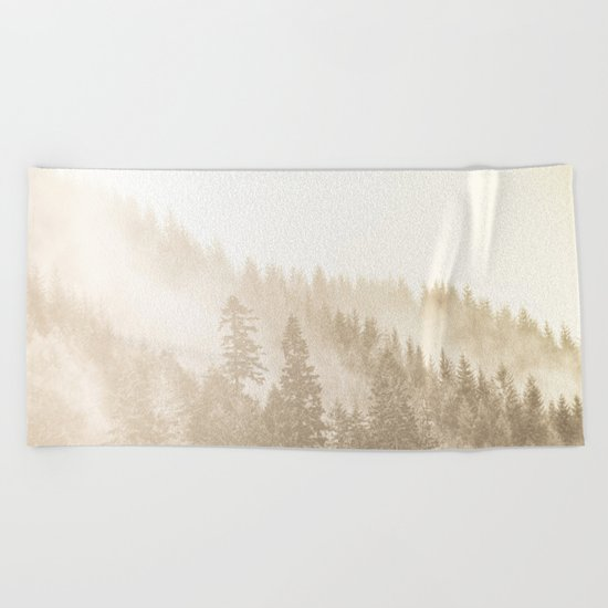 Vintage Sepia Fir Trees Beach Towel
