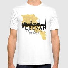 YEREVAN ARMENIA SILHOUETTE SKYLINE MAP ART MEDIUM Mens Fitted Tee White