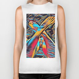 3766s-BH Abstract Leg Arch Vulva Art Feet Up Rendered Abstract by Chris Maher Biker Tank