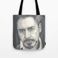 robert downey jr Tote Bags featuring Robert Downey Jr by Heather Andrewski