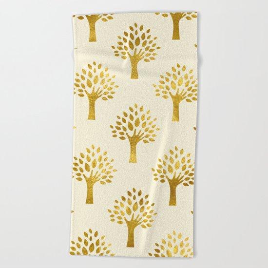 Cream Gold Foil 02 Beach Towel