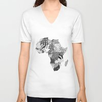 africa V-neck T-shirts featuring Africa by Kacenka